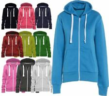 Womens Zip Up Plain Hoody 2 Side Pocket Sweatshirt Ladies Long Sleeve Jacket
