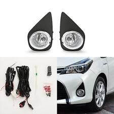Clear Fog Lights For 2015-2017 Toyota Yaris Hatchback 2/4DR w/Bezel Switch Bulbs