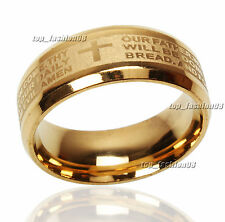 12pcs Stainless Steel Etched ENGLISH Lord's Prayer Cross Wedding Gold Band Ring