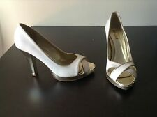 White Gold Pumps Peep Toe Heels Womens Shoes Size 9
