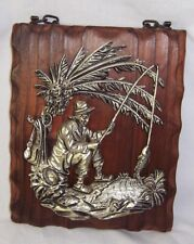 Vintage Retro Man Fishing Raised Silver Toned 3D on Rustic Wood Wall Plaque