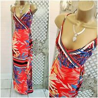 Lipsy 💋 UK 8 Red Floral Print Wrap & Tie Summer Maxi Dress ~Free Postage ~