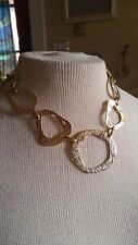 Vintage Necklace chain gold metal hammered abstract round links spiral cutouts