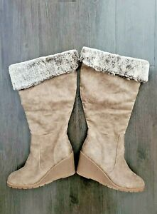 Lane Bryant Size 10 Wide Calf Faux Leather Fur Top Side Zip Tall Wedge Boot