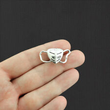 8 Face Mask Antique Silver Tone Charms - Sc3450