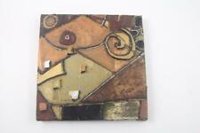 "Original 2001 Signed Erin Lofton Mixed Media 8 x 8 Canvas Painting-""Mountain"""