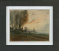 Framed Early 20th Century Pastel - Landscape at Sunset