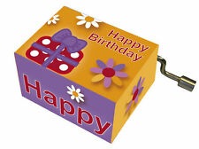 """Päckchen und Blüten """"Happy Birthday"""" Spieluhr Kurbelwerk Musik"""