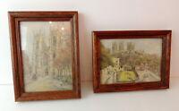 """2 Framed Post Cards VTG Pat Bell England Church Landmark 6"""" X 8"""""""