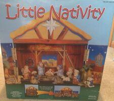 Little Nativity Petite Creche New in box 14 piece set includes storage case