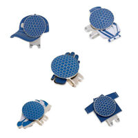New Assorted Patterns Magnetic Hat Clip and Golf Ball Marker Blue, 5Pcs