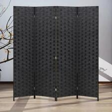 4 Panel Folding Wooden Screen Room Divider Privacy Decorative Woven Room Divider