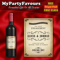 Personalised Wine/Champagne Bottle Label (Vintage Shabby) - Engagement gift!