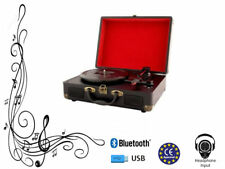 Bluetooth Black Portable Record Vinyl Player Retro Briefcase Turntable 3 Speed