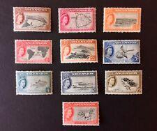 Ascension 1956 Queen Elizabeth Definitives set of 10 to 1/- LMM