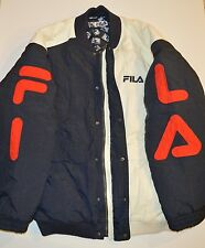 VINTAGE FILA NYLON PUFFER JACKET COLOR BLOCKED RED NAVY WHITE SZ 2XL