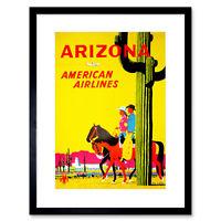 Travel Arizona Air Fly Desert Cactus Cowboy Horse Cowgirl Framed Wall Art Print