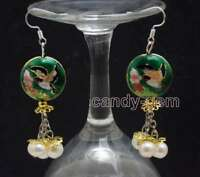 SALE 18mm Round Dark green Cloisonne & 6-7mm White Natural Pearl earring-ear649