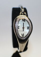 Gucci 103 Horsebit 41 Diamonds White Mother of Pearl Floral Dial Bangle Watch