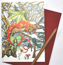 Yule Christmas card Dragon Pagan Medieval Game of Thrones Snow steampunk fantasy