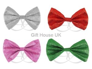 Bow Tie Glitter Sparkly Adjustable Dickie Dicky Dance Party Fancy Dress Gift Set