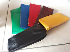 Plumier étui pochette cuir leather bag plume pen fullhalter nib writing. NOS2