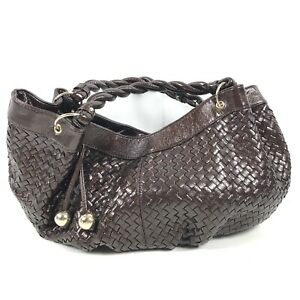 LOEFFLER RANDALL Womens Chocolate & Gold Patent Leather Hobo Shoulder Tote Purse