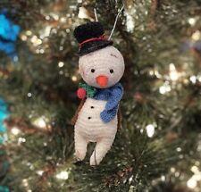 OOAK Miniature Thread Crochet Snowman Doll Christmas Ornament by Bear Artist