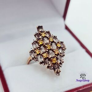 9ct Gold Ring Natural Quartz Citrine Diamond Size Q1/2 - 9