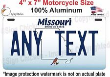 "Missouri State License Plate, CUSTOMIZABLE, CUSTOM, Any Text 4"" x 7"""" Motorcycle"