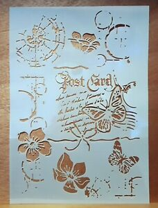 Large A4 Background Stencil, Mask, Mixed Media, Post Card, Flowers, Butterfly