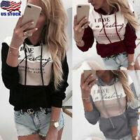 Womens Letter Print Hoodies Sweatshirt Ladies Hooded Long Sleeve Pullover Tops