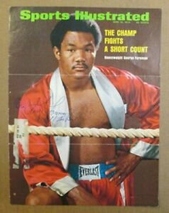 VINTAGE 1973 GEORGE FOREMAN AUTO SIGNED SPORTS ILLUSTRATED COVER RARE