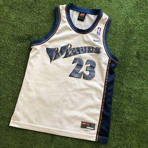 90s Michael Jordan Washington Wizards NBA Basketball Jersey Youth L White #23