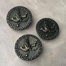 3 BOUTONS Anciens en Métal Oiseau 1900 33 mm - French Bird Buttons