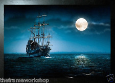 BLACK FRAMED PIRATES SHIP - 3D PICTURE 465mm X 365mm (NEW)