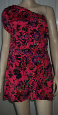 ASOS Red Multi Colour Floral One Shoulder Summer Party Playsuit Size 10