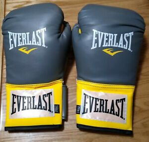EVERLAST Gray Yellow 14 oz Pro Style Training Boxing Gloves Everfresh