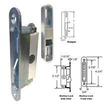"STB Sliding Glass Patio Door Lock Mortise Type Diagonal Hub, 3-7/8"" Screw Holes"