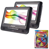 "Sylvania 9"" Twin Dual Screen DVD Player w/ Trisonic Laser Lens Cleaning Bundle"
