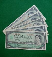 * Canadian 1967 series one dollar bills bank notes SERIAL NUMBER LOT OF 5  # 454