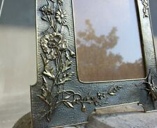 Antique bronze frame with flowers, bird and beetle Stunning Art relief decoratio