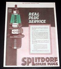 1918 OLD MAGAZINE PRINT AD, SPLITDORF SPARK PLUGS, PLUG OF UNEQUALLED SERVICE!