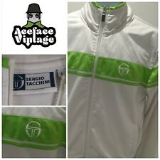 MENS SERGIO TACCHINI TRACKSUIT TOP/JACKET WHITE WITH GREEN DESIGN SIZE L VINTAGE