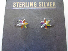 Sterling Silver with Multicolor Semiprecious Stones Floral Stud Earrings NEW!