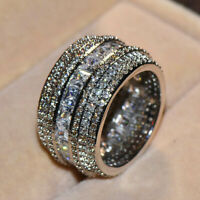 Luxury Shiny White Sapphire Stackable Eternity Ring 925 Silver Wedding Jewelry