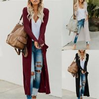 Plus Womens Long Sleeve Knitted Cardigan Sweater Casual Outwear Coat Jacket