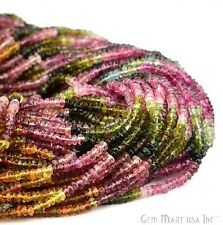 "1 Strand AAA Multi Tourmaline  3-4 mm Micro Faceted 14"" Gemstone Rondelle Beads"