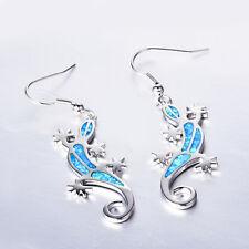Australian Fire Opal Gecko Dangle Earrings Hook 10Kt White Gold Filled Jewellery