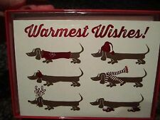 Warmest Wishes Dachshund Dog Holiday Christmas Sausage Cards NEW